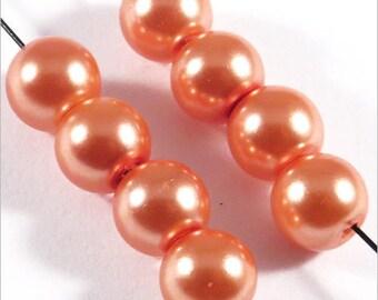 50 6mm Orange Czech glass pearl beads