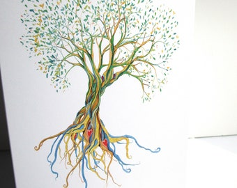 Tree of life watercolor print greeting card from watercolor illustration blank greeting cards everyday or birthday cards