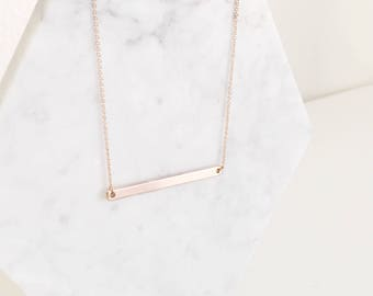 Delicate Skinny Bar Pendant Necklace   Gold, Rose Gold + Silver