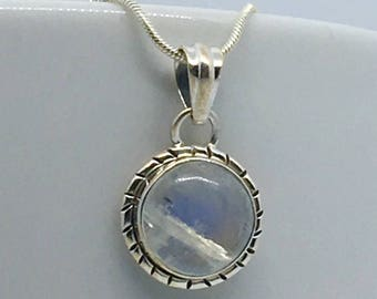 Rainbow Moonstone Crystal Pendant Necklace