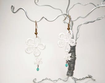 White Flower Venice Lace Earrings with Turquoise Faceted Glass Beads