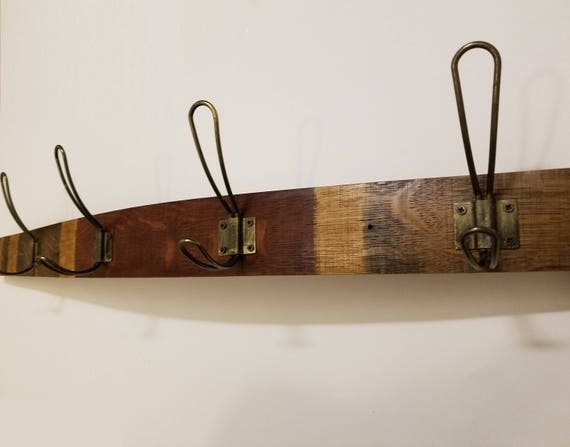 Coat Rack - Wine Barrel Wood and Rustic Western Bronze Wire Loop Hooks Coat Rack