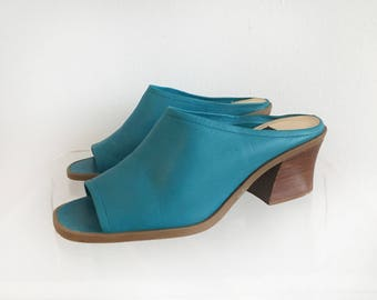 Teal Blue Leather Slip-On Open-Toe Mules Size 7.5