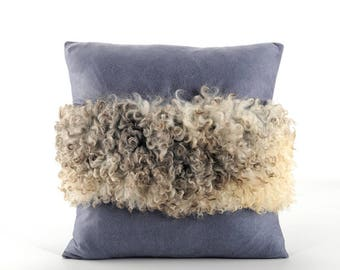 "Dark Blue Gotland Pillow Cover - Elegant and Unique Pillow Sheepskin & Velour Pillow Cover 16"" x 16"""