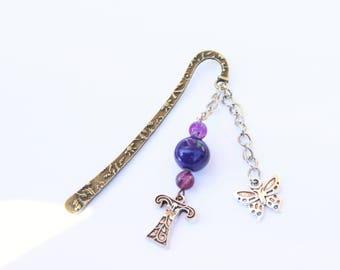 Beaded bookmark, Blue bookmark, Unique bookmark, Personalise bookmark , Custom book mark, Beaded bookmark, Gift for reader, Floral letter