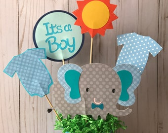 Elephant Baby Shower Centerpiece,  Baby Shower Decorations.