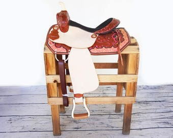 """15"""" Custom Pink Floral Embroidered Rough Out Tooled Handmade Western Horse Pleasure Trail leather Saddle"""
