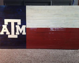Rustic Wooden Texas A&M Flag