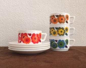 4 x Arcopal France Lotus coffee-tea-cups and saucers M