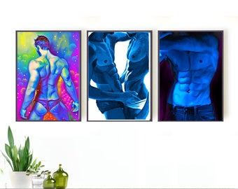 male figure study, gay art, homoerotic, erotic set of 3