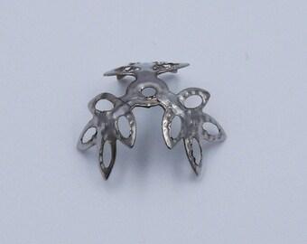 Flower Bead Caps, 12mm Bead Caps, Filigree Bead Caps, Dark Silver tone Leaf Bead Caps,  Ornate Bead Caps, Metal Bead Caps, Beading Supplies