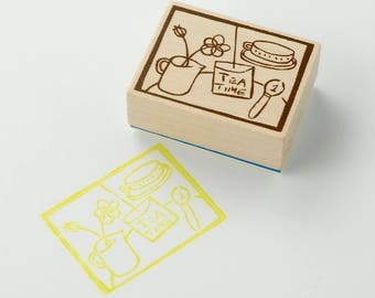 Chamil Garden x Litte Path Stamp H TEATIME / H1 Wooden Rubber stamp XM-ST-075