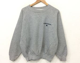Rare! Vintage CONVERSE Small Logo Sweatshirt Grey Color