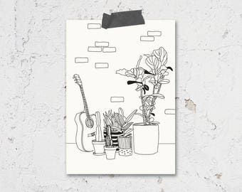 Guitar Indoor House Plant Illustrated Greeting Card