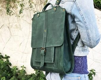 Green backpack leather backpack woman backpack men backpack big backpack large backpack travel backpack city backpack laptop backpack