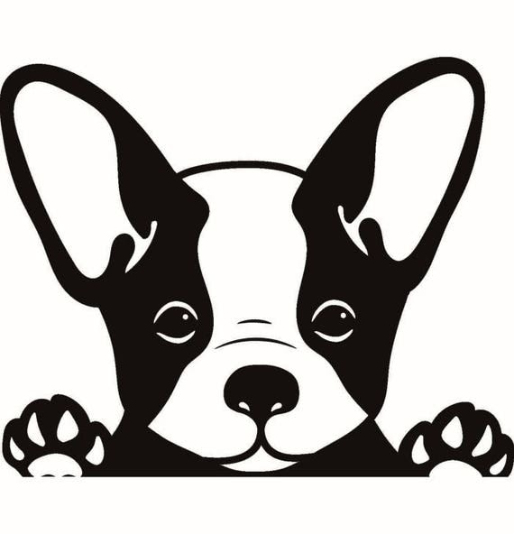 Silhouette Clipart Black And White French Bull Dog