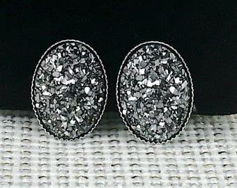Gunmetal Druzy Earrings - Druzy - Oval Druzy Earrings - Stud Earrings - Gunmetal Druzy Earrings - Oval Earrings - Druzy Jewelry - Gunmetal -