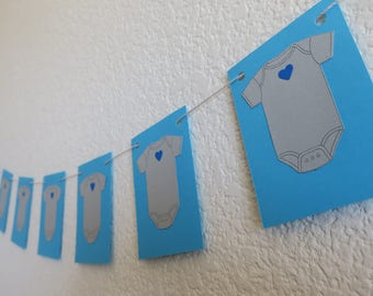 Blue & Gray Onesie Baby Shower grey girl boy banner party supplies decor