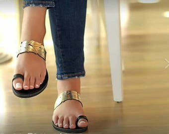 Leather  Sandals,Rosegold,Black,Summer Shoes,Flat Sandals,
