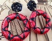 Fiesta Earrings - EXTRA LARGE! Handmade repro vintage 1950s style rayon raffia drop hoop earrings in black and red, Mexican latino