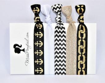 Gold Anchor Hair Ties, Black Chevrons, Glittery Gold, Elastic Hair Ties, Handmade, Elastic Ribbon, Ponytail Holder, Knotted Hair Ties