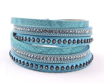 Leather Double Wrap Crystal Cuff Bracelet Light Blue