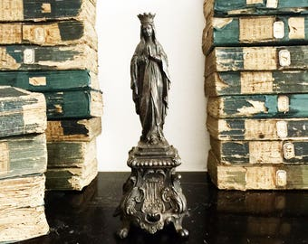 Antique French Virgin Mary Statue, A Magnificent Our Lady of Lourdes Figure, 19th Century