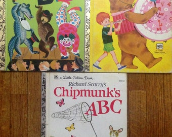 Set of 3 Little Golden Books of ABC, Vintage 60's and 70's children's books