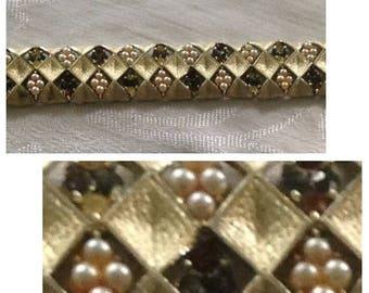 On Sale Coro Pegasus Goldtone Pearl and Rhinestone Bracelet
