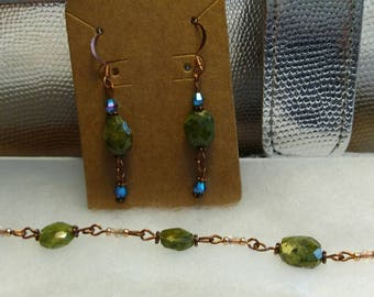 Russian Serpentine and copper earring and bracelet set