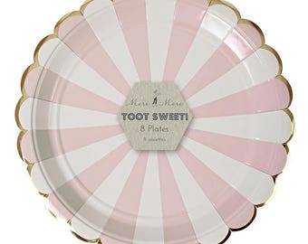 Pastel Pink and White Striped Paper Plates, Party Tableware, Birthday, Celebration