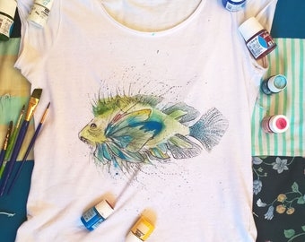 Fish hand painted T-Shirt