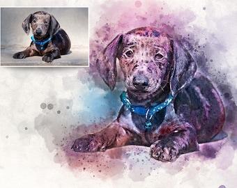 Custom Pet Portrait, Painting, Ink & Watercolor Painting, Pet Portrait, Digital Fine Art Print