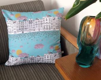 Handmade 'Pigeons on Vrsovice' cushion cover