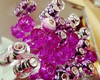 50pc Mixed Purple  Charm Bead lot