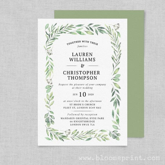 Greenery wedding invitation template, Garden Wedding invites rustic, Wedding invitations green leaves, Printable Wedding Invitations, A5