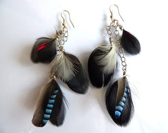 Earrings feather jewelry - red, white and blue feathers and chains - France - women gift