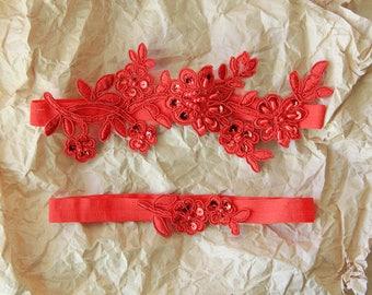 Red Wedding Garter, Red Beaded Flower Lace Wedding Garter,  Red Wedding Garter Belt, Bridal Red Garter Belt