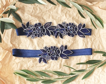 Navy Flower Wedding Garter, Navy Blue  Flower Lace Wedding Garter Belt, Something Blue Wedding Garter