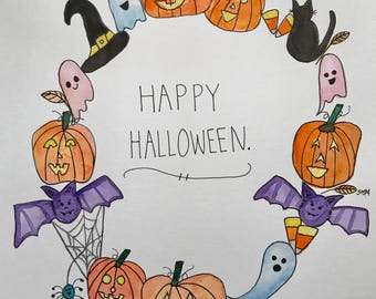 Happy Halloween watercolor wreath