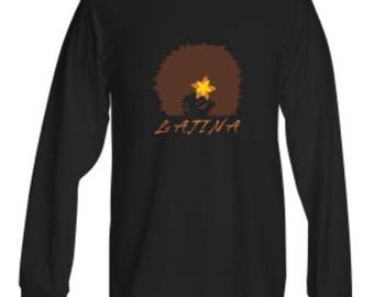LATINA 100% Heavy Cotton long sleeve T-shirt in grey and black