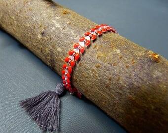 Bracelet chain silver red enameled COB & tassel