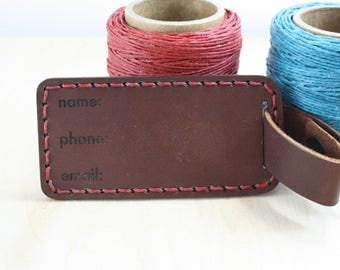 Leather Luggage Tag, Personalized Bag Tag with Durable Leather Strap