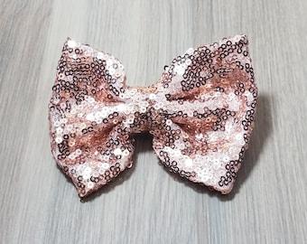 Rose Gold Sequin Bow Hair Clip | Children's Hair Accessories | Sequin Bow Clip | Sequin Hair Accessory | Cute Girls Hair Clip | Barrette