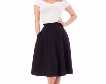 Pocket Swing Skirt- Black