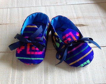 Blue Mexican Sarape Print Baby Booties