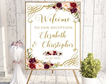 Welcome To Our Reception Sign, Welcome Wedding Sign, Printable Welcome Sign,Custom Welcome Reception Sign,Floral, Boho Chic Wedding, #LC