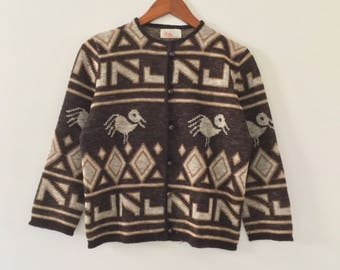 vintage 50's-60's Petti junior sportswear sweater // cardigan // brown with birds // size S
