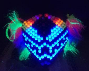 Neon UV Wolf kandi mask
