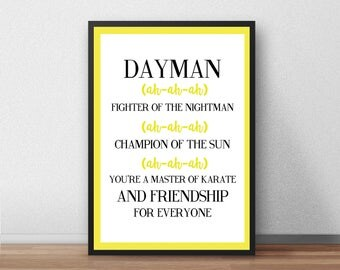 Dayman Print, Always Sunny In Philadelphia, Funny, Nightman, Song Lyrics, Illustrated, Poster, Gift,  Present